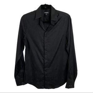 express paisley black on black button down mens sh